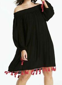 Bardot Beach Dress Size 14 Black Pink Tassel Swimwear Bikini Cover Up Simply Be