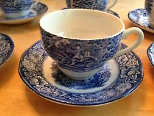 1 STAFFORDSHIRE IRONSTONE LIBERTY BLUE Paul Revere Cup & Old North Church Saucer