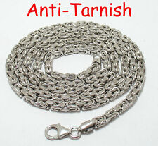 "36"" Men's Rhodium Plated Sterling Silver Byzantine Chain Necklace 5mm 59.5gr"