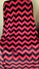 Chevron Print Fleece Fabric 2 Yard Piece Anti-Pill Red Black No Sew Blanket