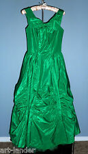 Vtg 1950s Emerald Green Taffeta Party Prom 50s Dress Lorrie Deb San Francisco 9