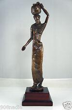 Bronzart Uk Bronze Figurine Statue Woman W/Basket,Wooden Stand,Signed