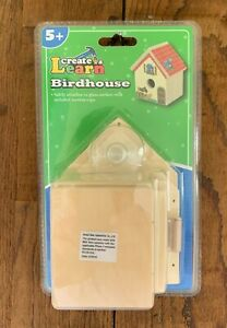 Birdhouse Create & Learn Birdhouse wood craft kit with stickers w/ suction cup