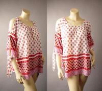 Moroccan Pattern Open Shoulder Tie Sleeve 70s Gypsy Boho 262 mv Blouse L 1XL 2XL