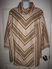 Apostrophe Woman Brown & Beige Striped Shirt Size 16- 18W