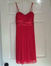 SPEECHLESS Bright Hot Pink Party Cocktail Adjustable Strap Tie Back Dress M EUC