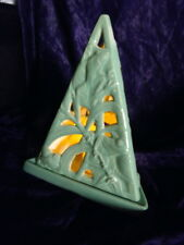 Ceramic Handpainted Glazed 2 piece Garden Luminary  - Turquoise Green Frogs
