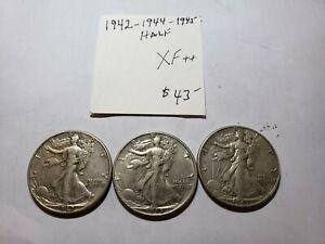 1942, 1944, 1945 Walking Liberty Half Dollars  XF+ - USC-0209