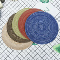 "14"" Round Woven Place Mats Set of 6 Non-Slip Table Mats Braided Cotton Yarn"