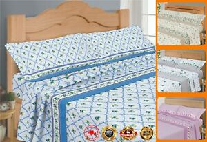 Flat Bed Sheets Covers 100% Egyptian Cotton Bedding Set + Pillowcase Double Size
