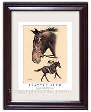 SEATTLE SLEW FRAMED HORSE RACING ART equine painting Kentucky Derby Triple Crown