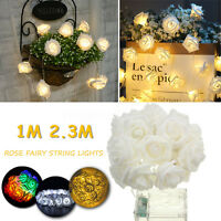 2.3M 20 LED Guirlande Lumineuse Lampe Fleur Rose Lumière Fée Lampe Noël Décor