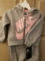 Nike Toddler Girl 2 Piece Set sweats Dark Heather Gray/ Pink  Size 12M Very Soft