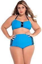Costume Da Bagno Bikini Vita alta Fascia Lacci Plus Size Swimwear Swimsuit XXXL