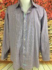English Laundry Purple Blue Striped Dress Shirt Contrast Cuff 17 1/2 34/35