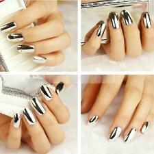 Boxed 70pcs Silver Metallic Resin False DIY Fingernails Nail Tips Stickers