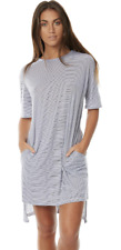 NEW, THE BARE ROAD Split T-Shirt Dress, Medium (Blue/White Stripe)