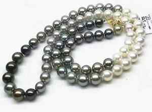 elegnat 10-12mm south sea round  multicolor pearl necklace 38inch