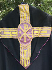 Chape Chasuble Doré Or Liturgique Broderie Prêtre Aube Ancien 32
