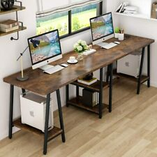 94.5 Inches Computer Desk,Extra Long Two Person Desk with Storage Shelf (Rustic)