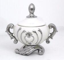 Pedestal & lid white & silver Ceramic Vase / Home Decorative