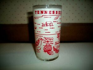 VTG Frosted*TENNESEE* State Drinking Glass Hazel Atlas w/~Red Pyro~COLLECTABLE