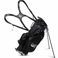 Hyper-Lite Golf Stand Cart Bag 6 Way Divider w/Shoulder Strap + Rain Cover Black