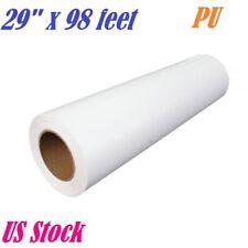 "PU Heat Transfer Vinyl HTV Roll White Printable Iron On T-shirt Press 29"" x 98ft"