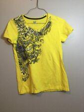 SB Active Size Small Yellow Print Yoga Tee T Shirt Lounge Workout