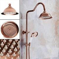 Effect Round Spray 8'' Rain Shower Head Copper Rose Gold Economy Bathroom UK