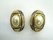 18k GP Oval Pearl Swarovski Element Austrian Crystal Rhinestone Clip On Earrings