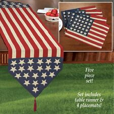 5 PC SET OL' GLORY RED WHITE BLUE AMERICAN FLAG PATRIOTIC TABLE RUNNER PLACEMATS