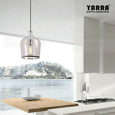 Glass Pendant Light Industrial Style in Clear Glass with Chrome Ring
