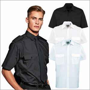 "Premier Mens Short Sleeve Pilot Office Formal Workwear Security Shirts 14.5-19"""