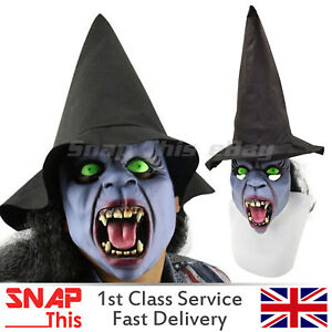 Witch Mask Hair Nose Cosplay Latex Full Face Horror Adult Halloween Party Hat