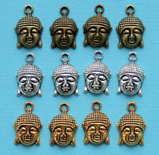 Buddha Charm Collection Antique Silver Bronze and Gold Tone 12 Charms - COL225