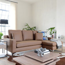 Dwell Oslo Faux Leather Right Hand Corner Sofa in Tan Retail £1199!!