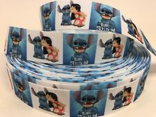 By The Yard Lilo And Stitch Uncut Printed One Sided Grosgrain Ribbon.... Lisa