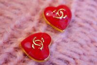 2 Two STAMPED VINTAGE CHANEL BUTTONS 2 pieces  Red & Gold