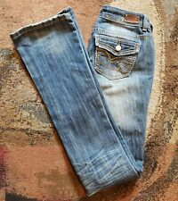 Almost Famous Low Rise Boot Distressed Denim Blue Jeans Size 7