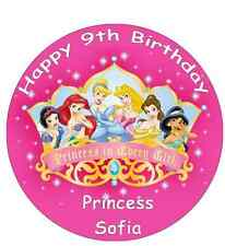 Disney Princess Personalised Wafer Paper Topper For Large Cake Various Sizes 7.5