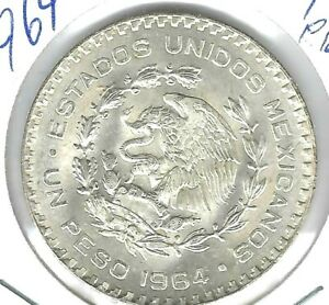 1964 MO Mexico Brilliant Uncirculated Silver One Peso Coin