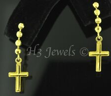 18k solid yellow gold dangling cross earring earrings diamond cut #1641 h3jewels
