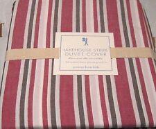 POTTERY BARN Kids Duvet Cover Lakehouse Stripe Full / Queen Red Dark Gray White