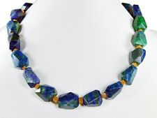 Beautiful Precious Stone Necklace in Azurite-Malachite with spacer beads from
