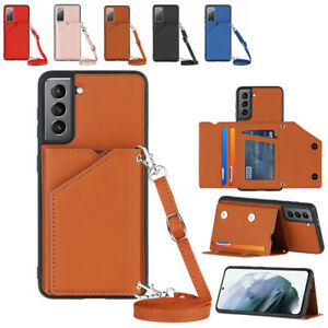 Shoulder Strap Wallet Stand Case Cover for Samsung Galaxy S20 FE S21 Ultra + A52