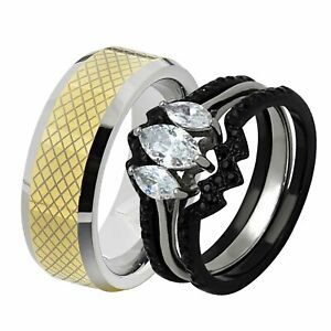 His & Hers Wedding Rings Sets Black Stainless Marquise CZ Tungsten Men Band LE