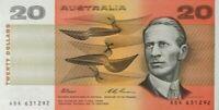 Australia CFU Last Prefix $20 ADK 631292 Fraser Evans Paper Banknote issue r415L