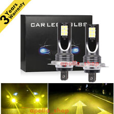 H7 LED Headlight Bulbs Conversion Kit High Low Beam 350W 40000LM 3000K Yellow