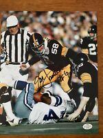Jack Lambert Hand Signed Autographed Pittsburgh Steelers 8x10 Photo HOF COA